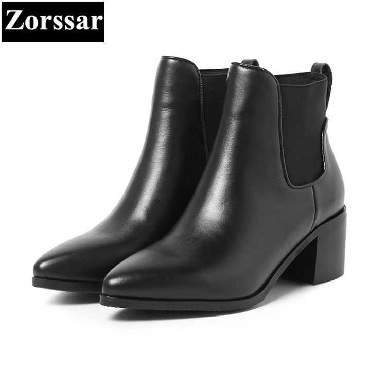 где купить {Zorssar} 2017 NEW arrival fashion High heels Women Chelsea Boots pointed Toe Square heel ankle boots autumn winter female shoes по лучшей цене