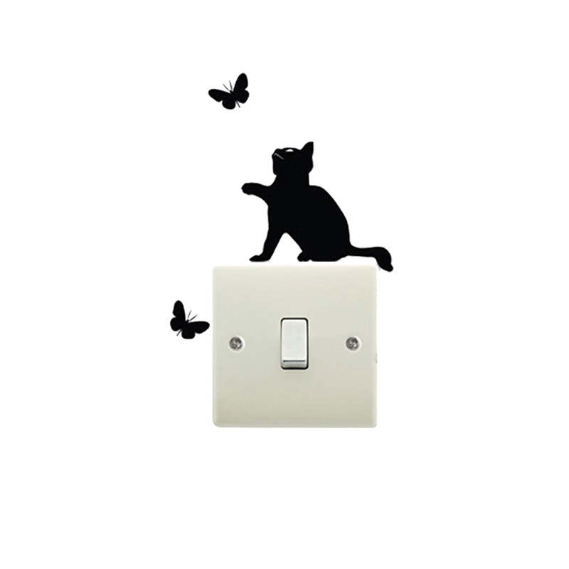 Cute Cat And Butterfly Interesting Switch Sticker Vinyl Switch Decoration Home Decor Decals Waterproof Removable Wall Stickers