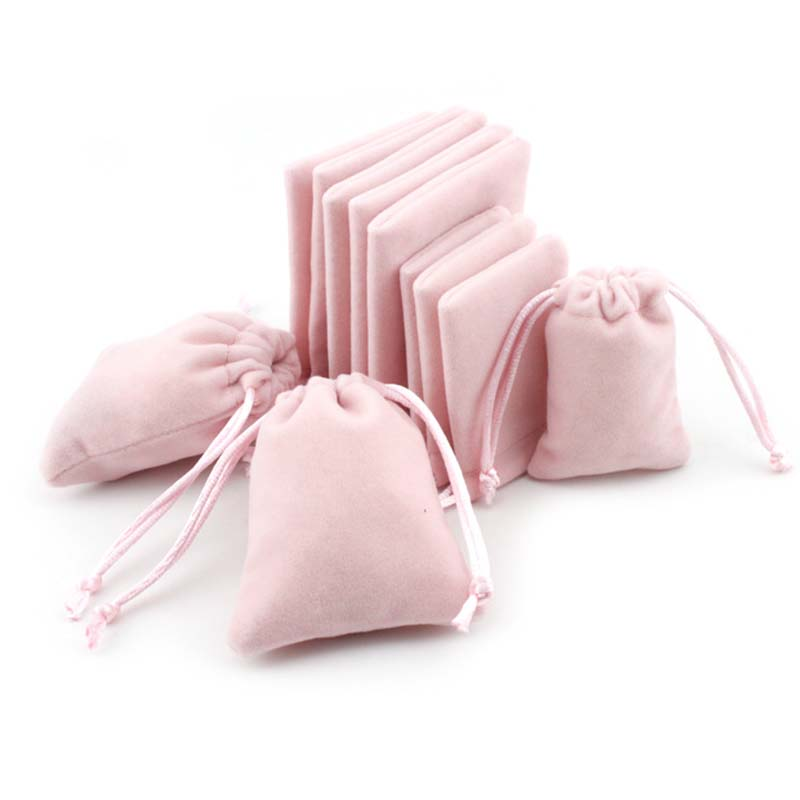 5pcs/lot Sweet Pink Drawstring Organza Velvet Bags 5x7 7x9 10x12cm Storage Bags Christmas Wedding Gift Pouches Jewelry Packaging