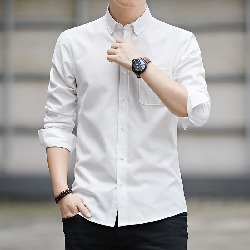 High-quality long-sleeved shirts for men's leisure Korean version of young and middle-aged Oxford white shirts in spring 3