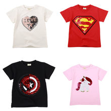 Boys T-Shirts Cotton Kids unicorn T-Shirt With Sequin Reversible Sequin Girls T Shirt Kids White Flash T Shirt Kids Teen Girl(China)
