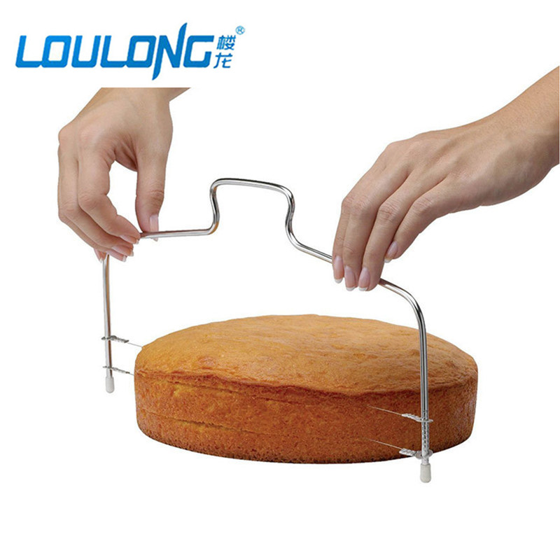 Stainless Steel Double Wires Cake Cutter Slicer Leveler Adjust Cake Cookie Cutter Kitchen Accessories Baking Pastry Tools BK020