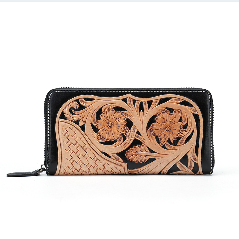100% hand carved vintage flower genuine italian vegetable tanned cow leather wallet women ladies leather wallets simline vintage 100