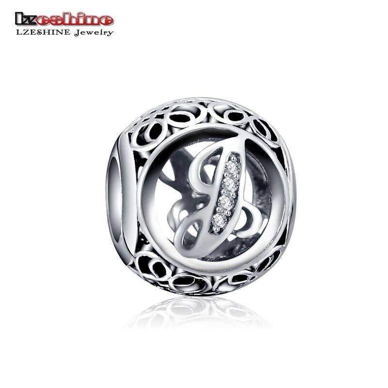 LZESHINE 100% Authentic Sterling Silver 925 Crystal Alphabet Letter A-Z Bead Charm Fit Original Pandora Charm Bracelet PSMB0634 11