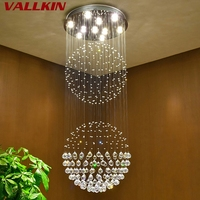 VALLKIN Luxury Crystal Chandeliers Contemporary Lamp GU10 LED Crystal Lights Chandelier Hanging LED Lamp Bedroom Decoration