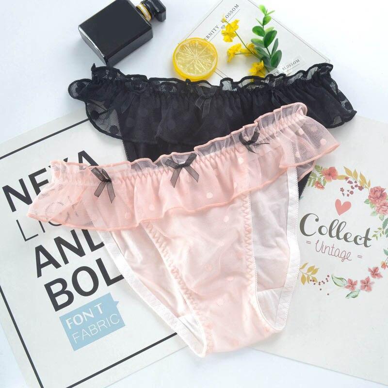 b5fba3956ff Japanese Style Mesh Lace Bow Women Panties Cute Lovely Sweety Thin Soft  Lady Underwear Low Waist
