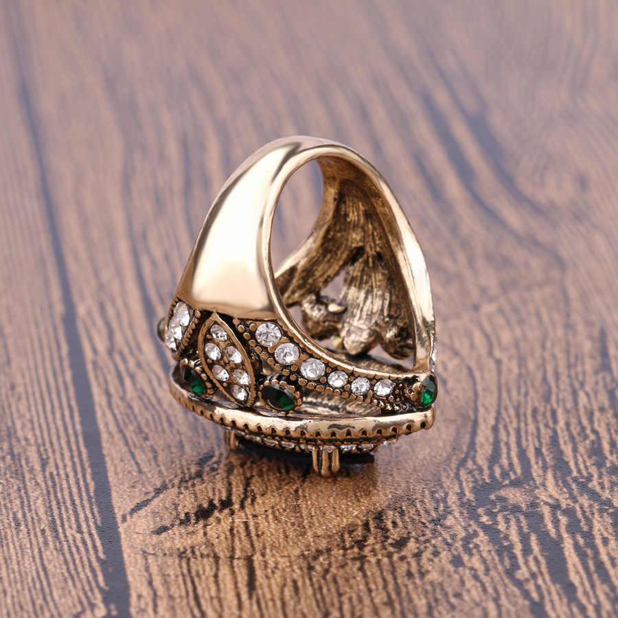 ブルガリアジュエリーヴィンテージビッグゴールドの結婚指輪ヴィンテージグリーンクリスタルブルー馬リング自由奔放に生きるアクセサリー