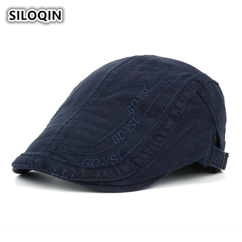 SILOQIN Men 39 s 100 Cotton Cap Washed Cloth Embroidery Berets For Men Adjustable Size Retro Brand Dad Hat Sombrero De Hombre New in Men 39 s Berets from Apparel Accessories