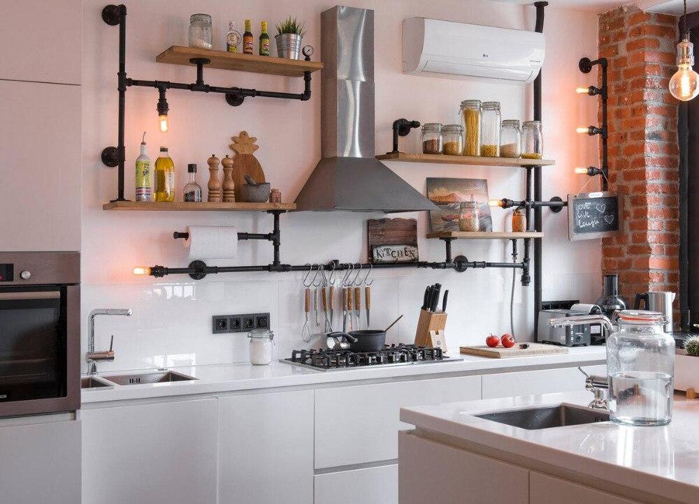 DIYHD Kitchen Easy Mount Full Set Black Pipe Shelf(custom made) перчатки сноубордические volcom full pipe black