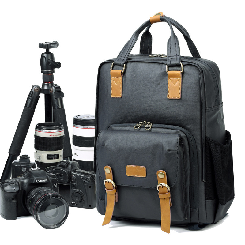 New Arrival Professional Simple Light Camera Bag Canvas Fashion Simple Korean Style Photography DSLR SLR Backpack