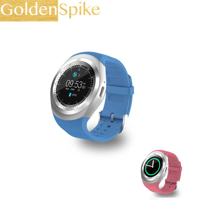 US $13 49 |2019 Y1 Round Smartwatch Bluetooth Smart Watch 2G GSM SIM App  Sync Mp3 for Apple iPhone Xiaomi Android Phones Girls boy Watch-in Smart