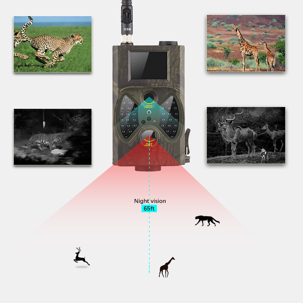 Trail Camera MMS GPRS Portable Hidden Hunting Cameras Camouflage Cameras Trap Security Surveillance Hunting Camera HC300M