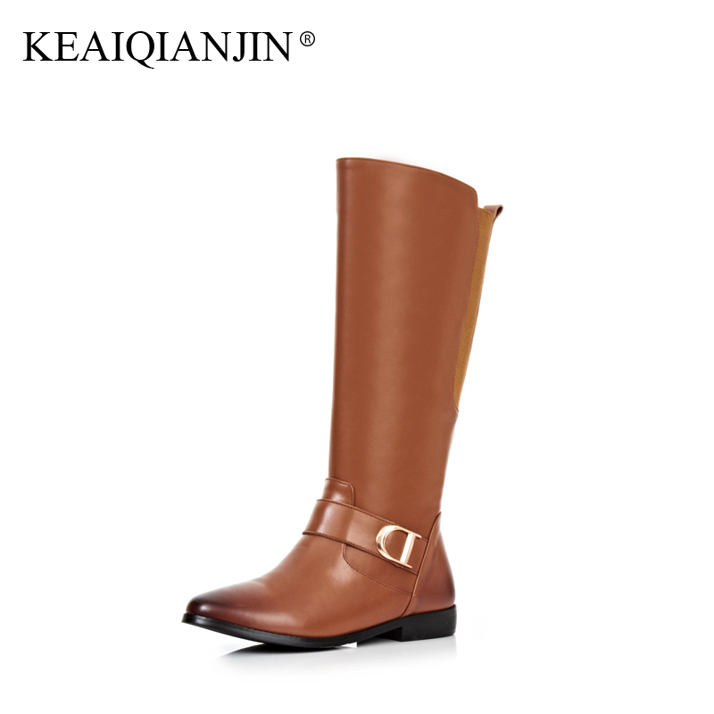 KEAIQIANJIN Woman Over The Knee Boots Black Buckle Plus Size 33 - 43 Winter Bottes Shoes Genuine Leather Knee High Boots Thigh winter boots women over the knee boots genuine leather boots thigh high boots female 2017 heel fashion black shoes woman