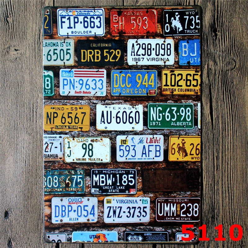 Vintage License Plates Garage Tin Sign Car Tin Signs Retro Wall Sign Home Decorative Plaque 20*30 CM-in Plaques u0026 Signs from Home u0026 Garden on Aliexpress.com ...  sc 1 st  AliExpress.com & Vintage License Plates Garage Tin Sign Car Tin Signs Retro Wall Sign ...