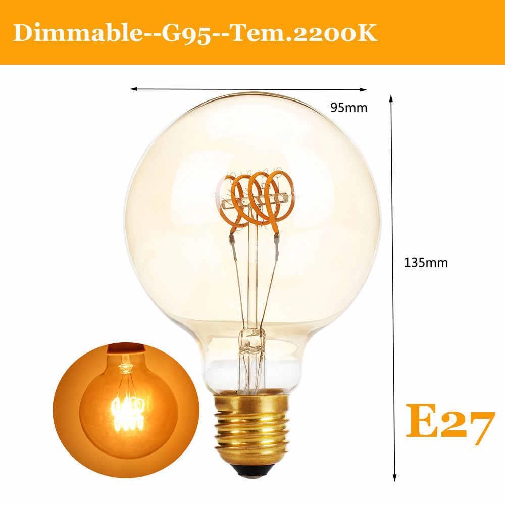 E27 Светодиодная лампа Эдисона с регулируемой яркостью ретро лампы углерода E14 220V A60 T30 G80 ST64 G95 G125 Винтаж Вольфрам Освещение в помещении Декор