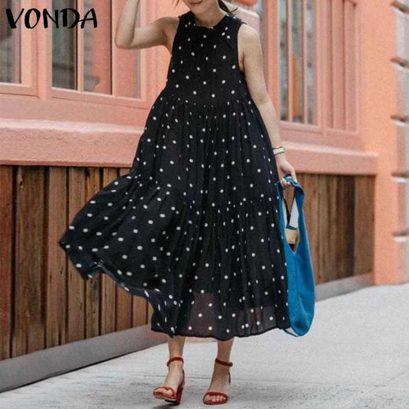 VONDA Dot Printed Tank Dress Women Sexy Sleeveless O Neck Maternity Dresses Beach Casual Loose Bohemian Pregnancy Sundress