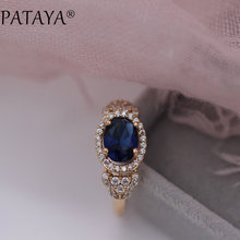 PATAYA New Arrivals 585 Rose Gold Micro-wax Inlay Dark Blue Oval Natural Zircon Rings Women Wedding Party Gift Fashion Jewelry(China)