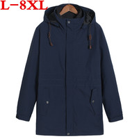 plus size 8XL 7XL 6XL Winter Jackets And Coats Thick Warm Fashion Casual Cotton padded clothes Young Men Parka Fit Snow Cold