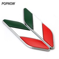 2pcs Car Styling Aluminum Italy Italian Flag Fender Emblem Badge Sticker Decal For Volkswagen Ford Chevrolet