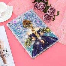Misolocat для Apple iPad Air 2 чехол Обложка для планшета сыпучий песок с блестками Bling Capa Funda Coque мультфильм девушка