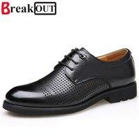 Large Size Men Oxfords For Men Dress Shoes Business Genuine Leather Breathable Summer Style Men Shoes