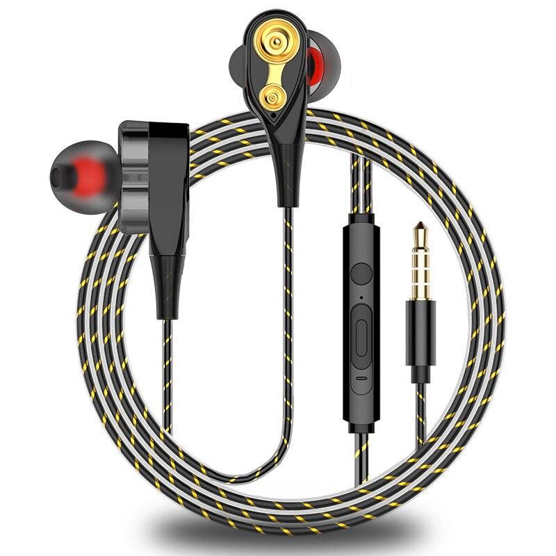Dual Drive Stereo earphone In-ear Headset Earbuds Bass Earphones For iPhone huawei Xiaomi 3.5mm earphones With Mic magnetic attraction bluetooth earphone headset waterproof sports 4.2