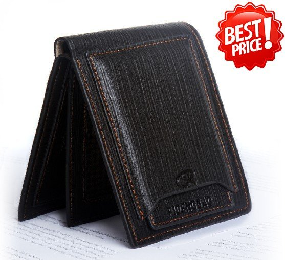 2015 Free Shipping Mens real genuine Leather Wallet Pockets Card Clutch Cente Bifold Purse High Quality#D526-40-1