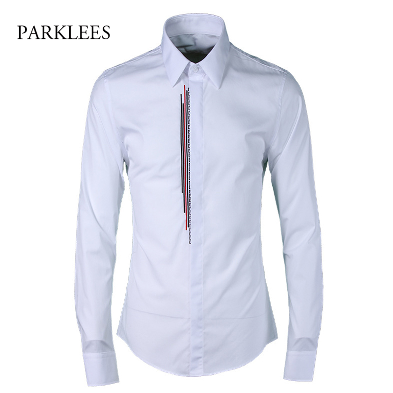 Aliexpress.com : Buy Brand White Shirt Men Luxury Embroidery Mens ...