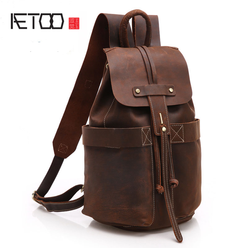 AETOO 100 genuine Leather cohide leather backpacks men and women shoulder bag fashion retro quilts neutral