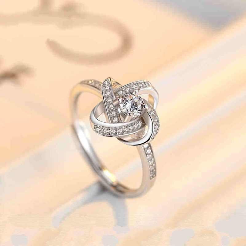 OMHXZJ ขายส่งยุโรปผู้หญิงผู้หญิงแฟชั่นผู้หญิงงานแต่งงานของขวัญเงินสีขาว AAA Zircon เปิดแหวนเงิน 925 RR280