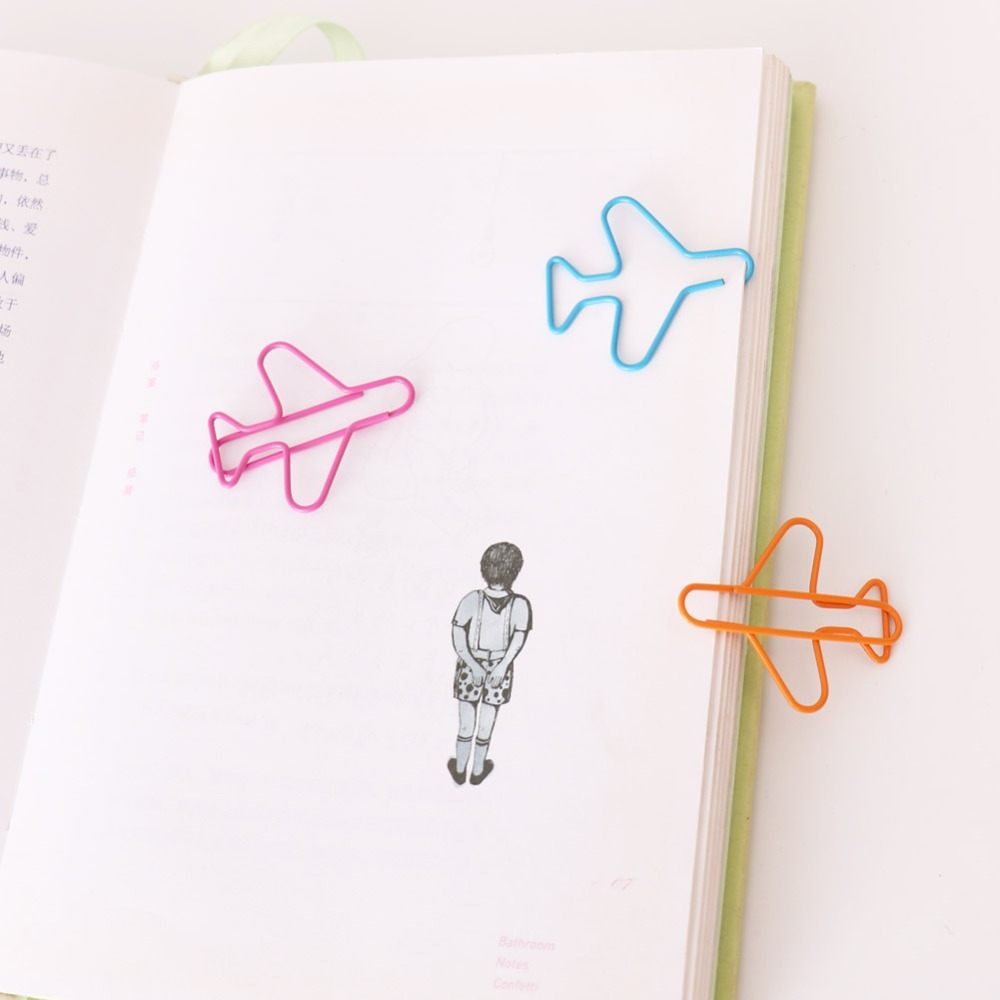 TUTU 12pcs/lot Creative New Airplane Metal 3 COLORS Paper Clips Cute Plane Clip Office School Stationery Supplies H0279
