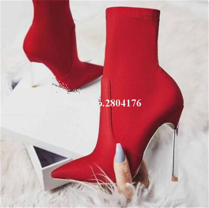 Brand Design Women Fashion Pointed Toe Suede Leather Stiletto Thin Heel Short Boots Red Yellow Pink High Heel Ankle BootiesBrand Design Women Fashion Pointed Toe Suede Leather Stiletto Thin Heel Short Boots Red Yellow Pink High Heel Ankle Booties