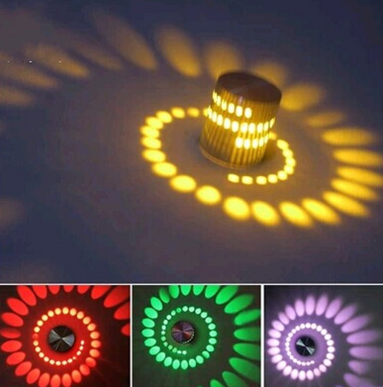 3w rgb led wall lamp light artistic modern with scattering lighting design whirlpool shadow stretching green artistic lighting and designs