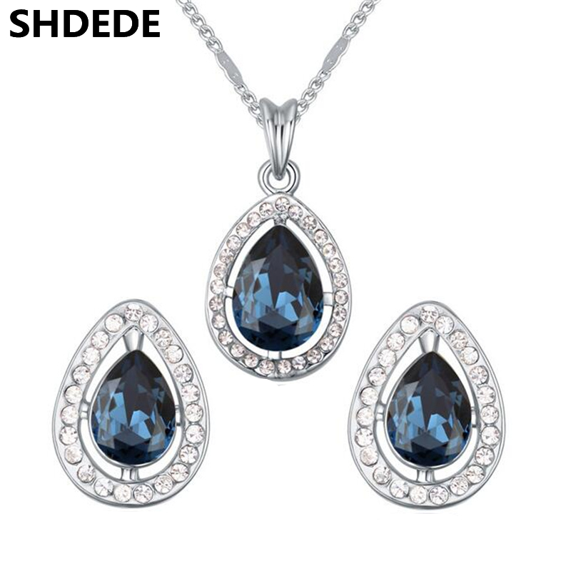 цена на SHDEDE Fashion Jewelry Sets Water Drop Crystal from Swarovski Elements Exquisite Necklace Earrings For Women Gift -18246