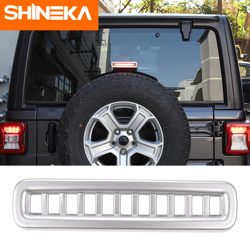 SHINEKA Lamp Hoods ABS Car Additional Brake Lights Cover Stickers Advanced Configuration Car Styling For Jeep Wrangler JL 2018 in Lamp Hoods from Automobiles Motorcycles