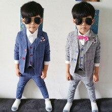 Бесплатная доставка детей пром костюмы корейский ребенок 3-костюм весна и осень костюмы для свадьбы платье свободного покроя костюм гарсон mariage