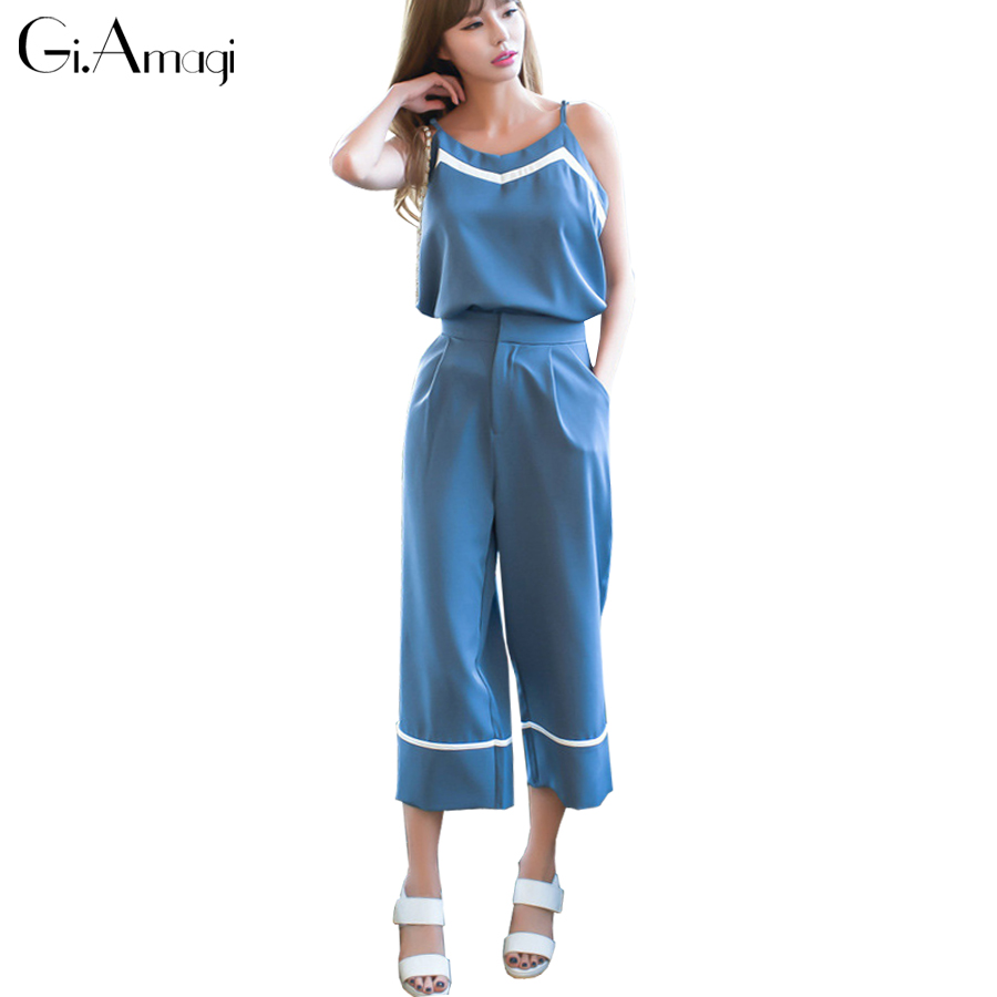 2017 Summer New Bohemian Style Fashion Casual High Waist Wide Leg Pants Trousers With Chiffon