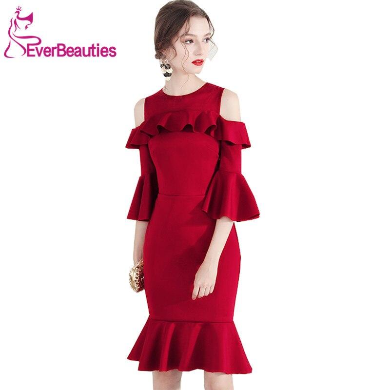 Vestidos Cortos De   Cocktail   2019   Cocktail     Dresses   Wine Red Half Sleeves Homecoming   Dresses   Prom Party Vestidos Coctel Mujer