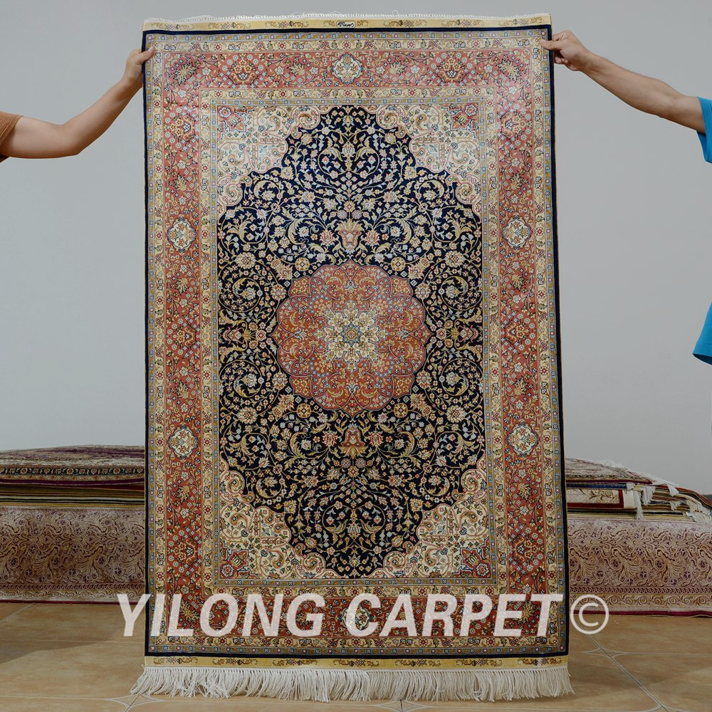 Yilong 3.3 'x5' Tabriz tapis de soie bleu foncé fait à la main exquis traditionnel turc tapis de soie (0076)