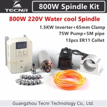 Spindle Kit 800W 220V CNC Router Water Cooled Spindle Motor +1.5KW VFD+65mm clamp+75w water pump/pipe+13pcs ER11