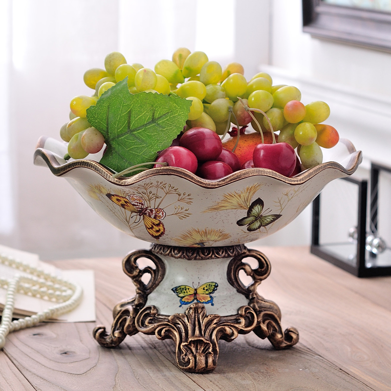 European luxury fruit plate American Pastoral decoration Wavy fruit bowl Large caliber fruit disc