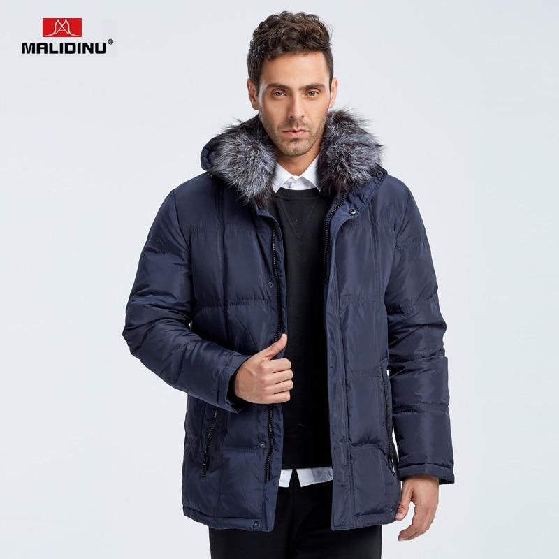 MALIDINU 2018 Brand Men Winter Down Jacket 70% Duck Down Warm Thicken Long Down Coat Parka Fox Fur Collar -40C Free Shipping
