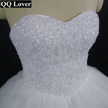 QQ Lover 2017 New Luxury Beaded Off The Shoulder Ball Gown Wedding Dress Bridal Gown Vestido De Noiva