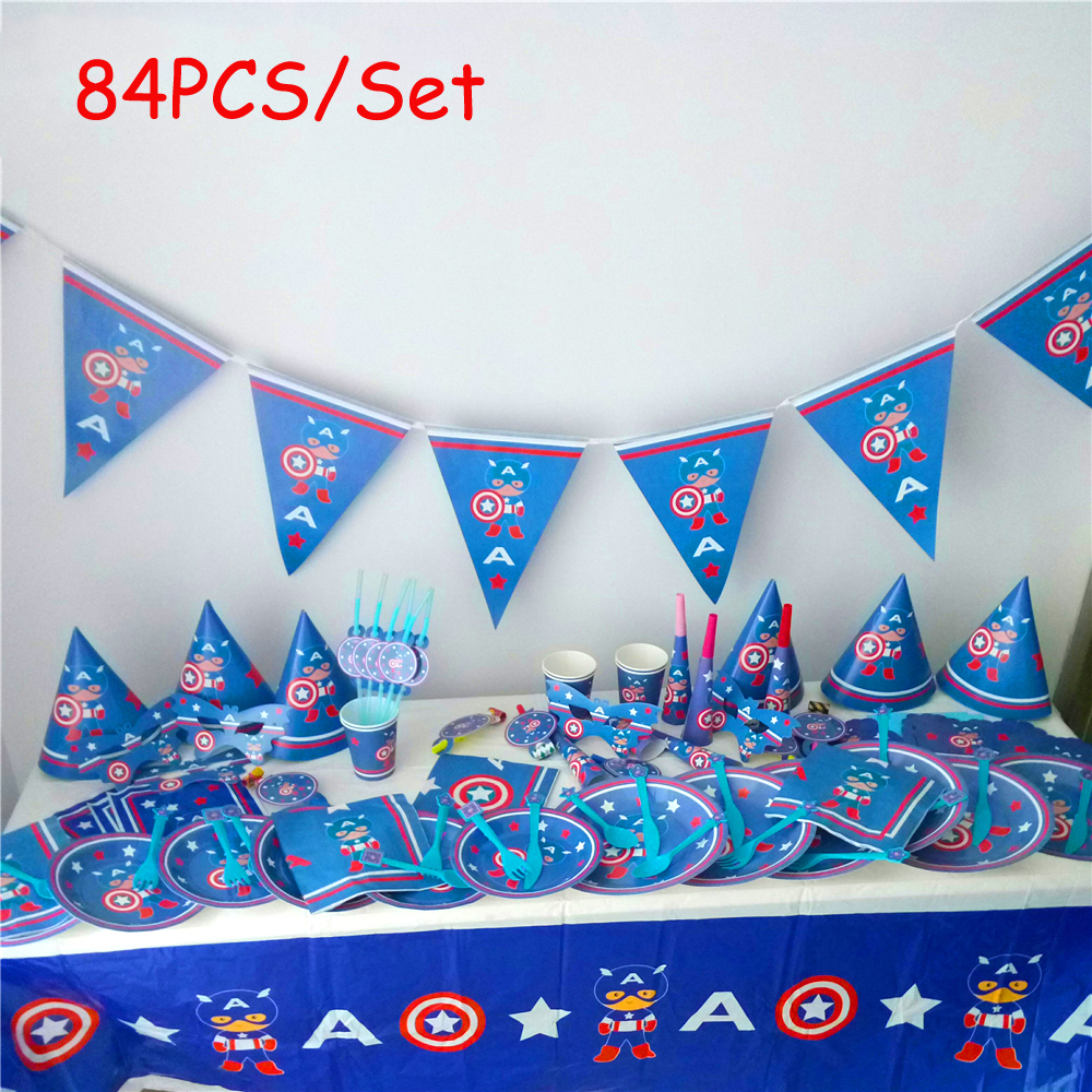 84pcs/lot The Avengers Captain America Baby Birthday Party Decorations Kids Evnent Supplies Decoration