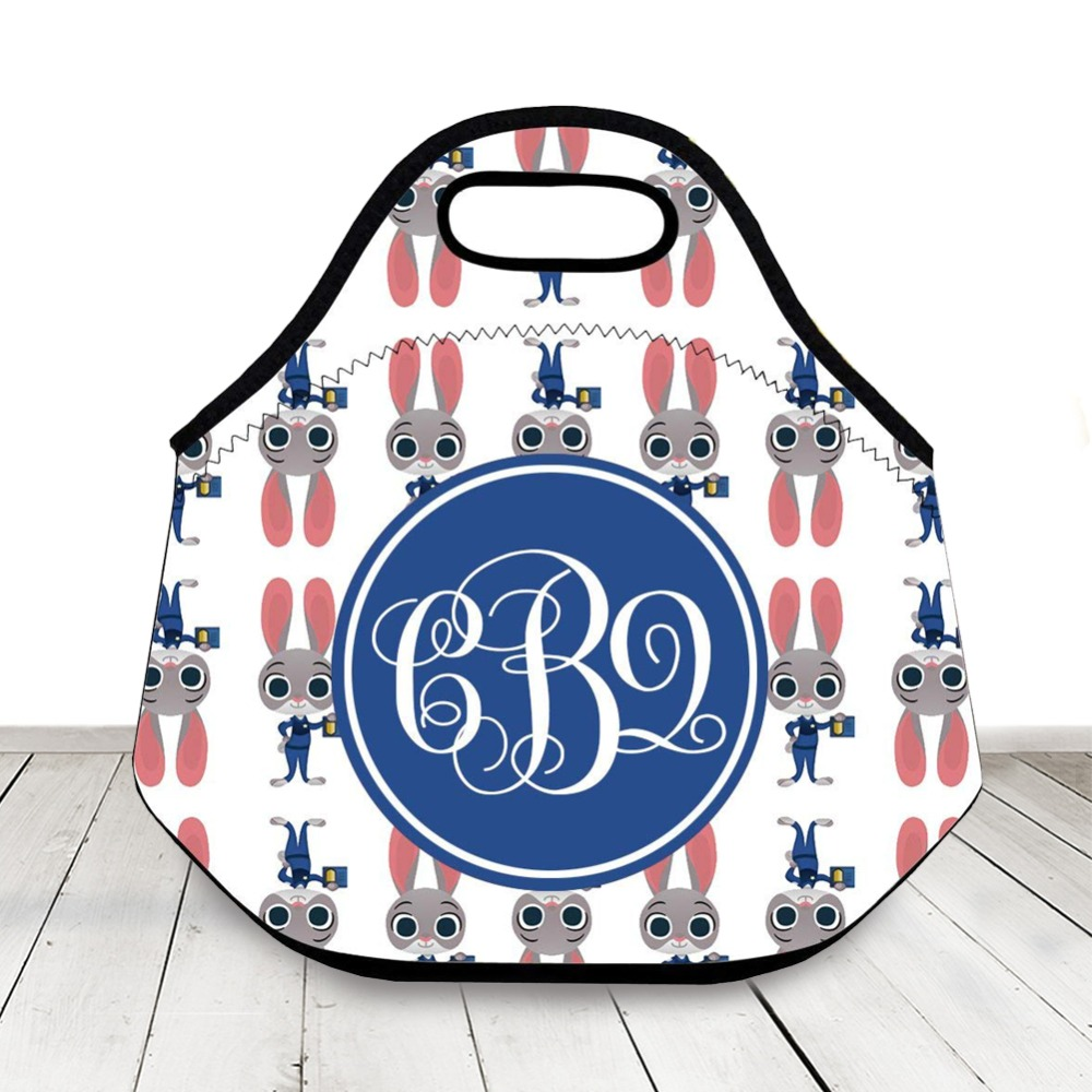 Us 19 99 Custom Monogram Initials Cute Insulated Lunch Bag Cartoon Rabbit Neoprene Personalized Lunch Box For Girl Kid Boy Back To School In Storage