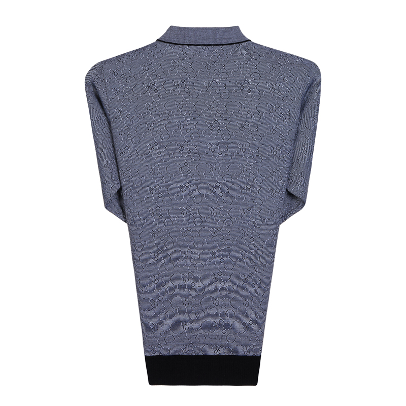 Man Spring Autumn Knitted Blouse Gray Tuen Down Collar Long Sleeve Cashmere Blend Tops Mature Man Casual Shirt Father  (1)