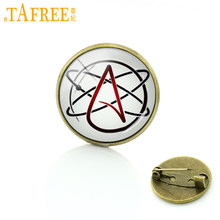 TAFREE Atheïst symbool metalen pin steampunk wearable art atheïsme beweging badge Triquetra Alchemist logo mannen vrouwen broches T523(China)