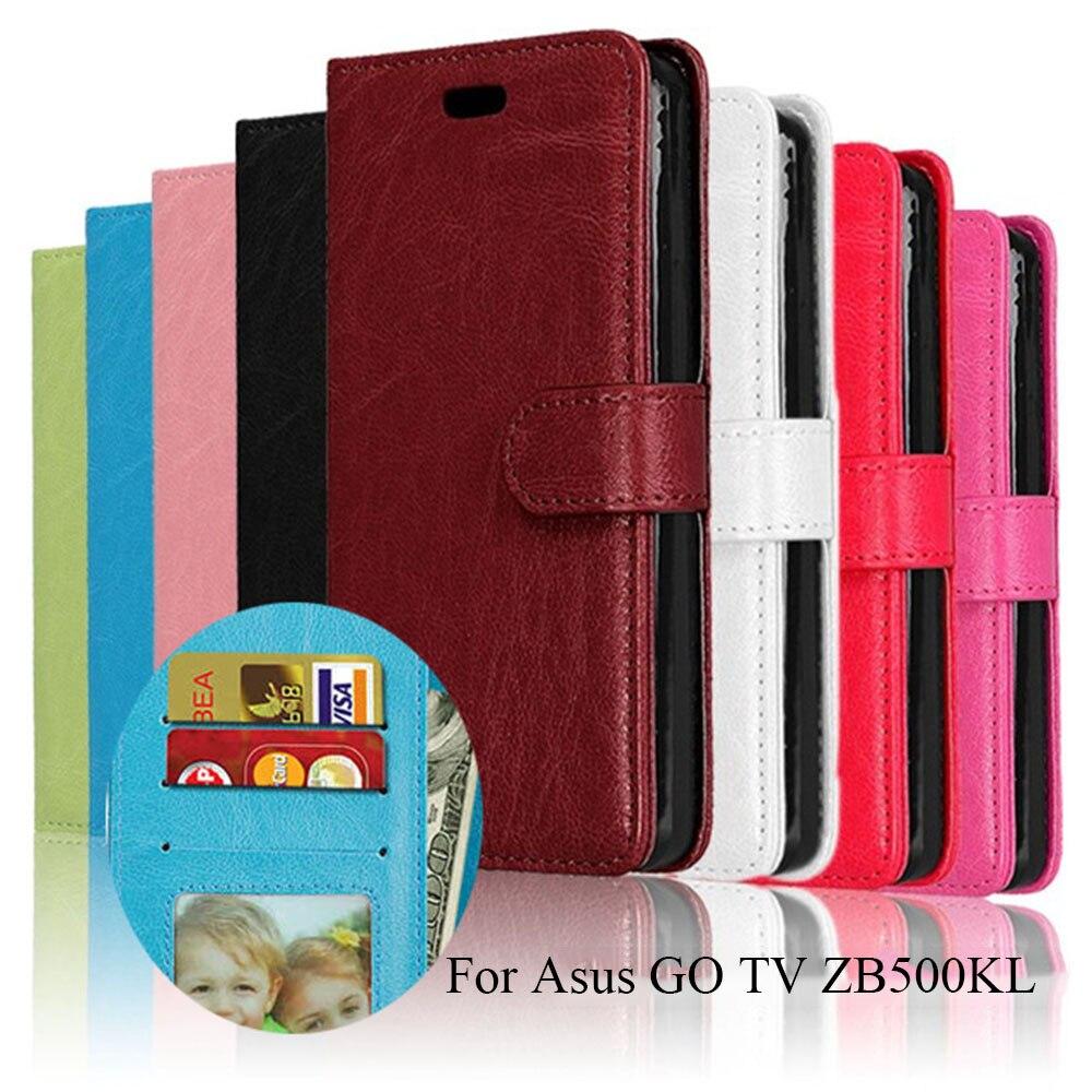 LUCKBUY Wallet Case For ASUS Zenfone GO TV ZB500KL ZB500KG Flip Cover PU Leather Stand Holder Cases For ASUS GO zb500kl Shells