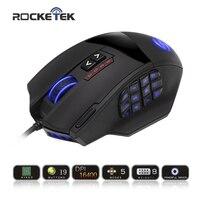 Rocketek 50に16400 dpi高精度レーザーmmoゲーミングマウス用pc、18プログラマブルボタン[互換でwindows 10]