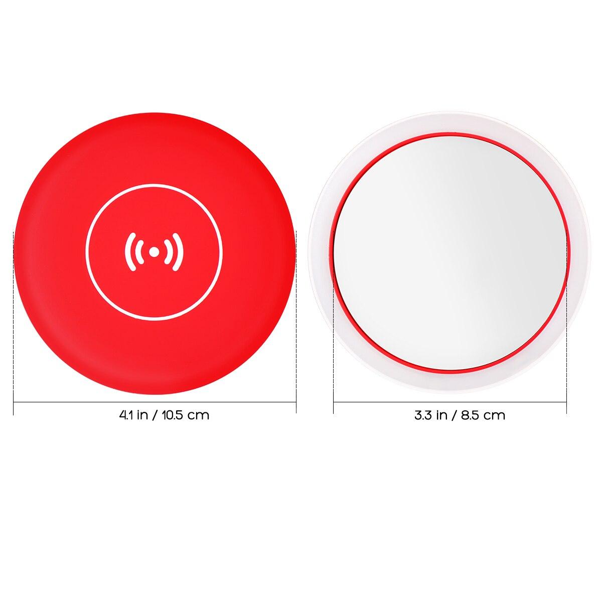Image 3 - Espejo cosmético Circular LED portátil multifuncional con Base de carga inalámbrica USB herramientas de espejo de maquillaje para mujerEspejos para maquillaje   -